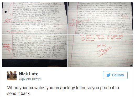 Cheating ex girlfriend sends apology letter guy sends it back nick posted the letter on twitter with the thought of imparting it to companions yet in the end the tweet turned into a web sensation ccuart Images